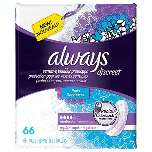 Discreet, Incontinence Pads, Moderate, Regular Length, 66 Count