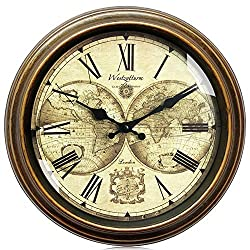 Westzytturm Rustic Wall Clock 12 inches Glass Cover Vintage Big Roman Numeral Wall Clocks Battery Operated Non Ticking Silent Large Decorative Clocks for Living Room Office Bedrooms Home Kitchen Gold