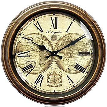 Westzytturm Rustic Wall Clocks 12 inch Antique World Big Face Roman Numeral Battery Operated Non Ticking Silent Quartz Large Clocks for Living Room Decor Office Bedrooms Home Kitchen Gold