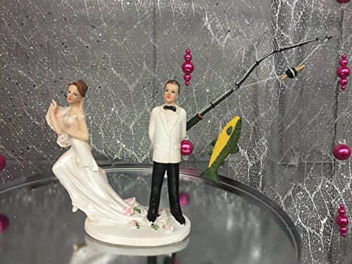 Wedding Funny Fishing Groom and Bride Couple Figurine Cake Topper Centerpiece