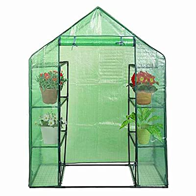 Waterproof UV Protected Green Color Aoodor Walk-in Lean to Wall Greenhouse 6.3ft Two Zipper Door x 3.3ft x 7.2ft