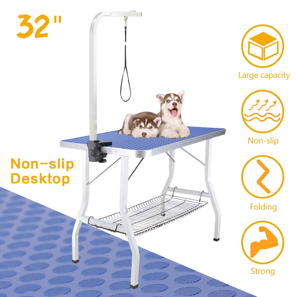Royale Foldable Pet Dog Grooming Table, 32 Inch Portable Durable Drying Table with Non-Slip Table Top, Metal Mesh Tray, Adjustable Height Arm&Noose for Dog or Cat by Royale