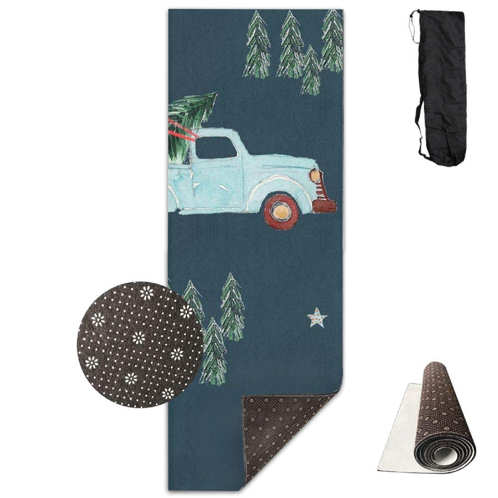 KIOT156 Family Fun Holidays Christmas Tree Extra Thick High Density Exercise Yoga Mat with A Yoga Bag for Exercise,Yoga and Pilates.