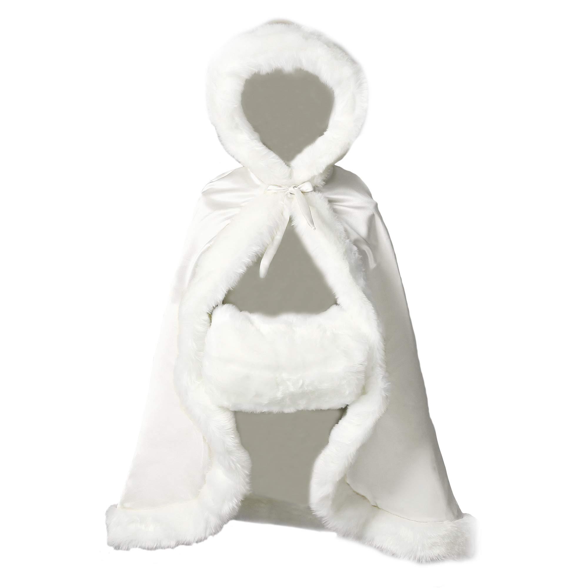 Flower Girl Cape Winter Wedding Cloak for Infant Junior Bridesmaid Hooded Reversible Ivory 44
