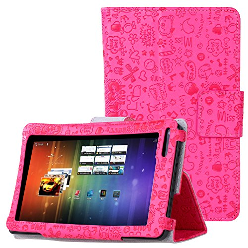 (KuRoKo Slim Classic Flip PU Leather Folio Case for RCA Voyager II 7 / RCA Voyager 7 (2016, 2017) / RCA 7 Voyager Pro Tablet (Cute Hot Pink))