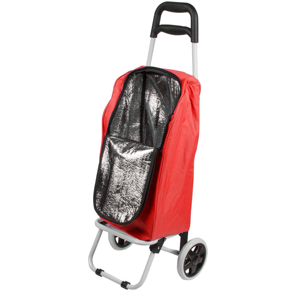 Carro de la compra de 25 L, aislado, Bolsa nevera con ruedas, rojo ...