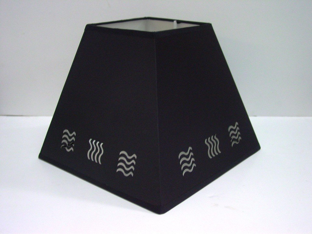 "10"" BLACK WAVE STENCIL LAMPSHADE Lights Linen"