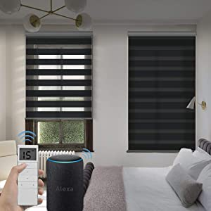 Graywind Motorized Zebra Sheer Blinds Compatible with Alexa Horizontal Light Filtering Window Shades Remote Roller Blinds with Valance for Smart Home and Office, Customized Size, Black