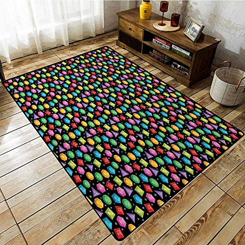 Living Room Rug,Diamonds,Colorful Geometric Rocks Hexagons Pentagons Triangles Pattern with Dots and Stars,Anti-Slip Doormat Footpad Machine Washable,5'10