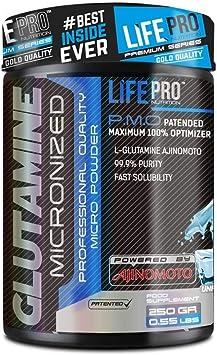 Life Pro Glutamine Ajinomoto 250g   Suplemento con Glutamina, Ayuda Recuperación Muscular, Previene Lesiones, Retrasa Cansancio, Aumenta Fuerza ...