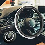 HAOKAI Capa de volante feminina premium com strass de cristal brilhante tamanho universal 38 cm couro antiderrapante PUHAOKAI
