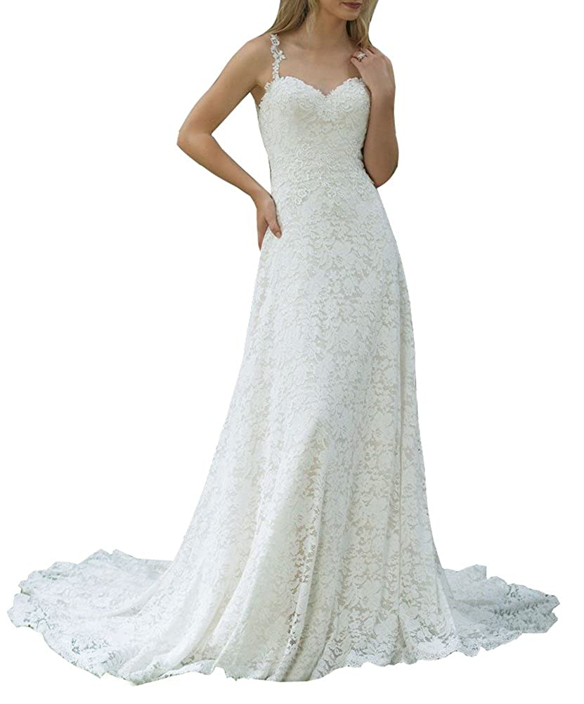 Ikerenwedding Womens Straps Beaded Lace Applique Sheer Back Wedding