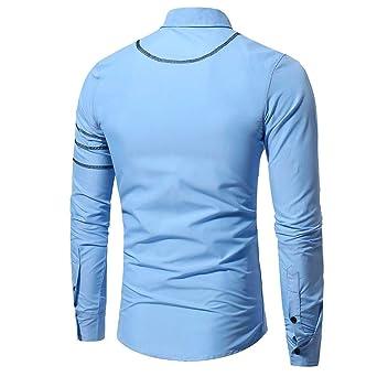 YIHANK - Camiseta de Manga Larga para Hombre Azul Celeste Large ...