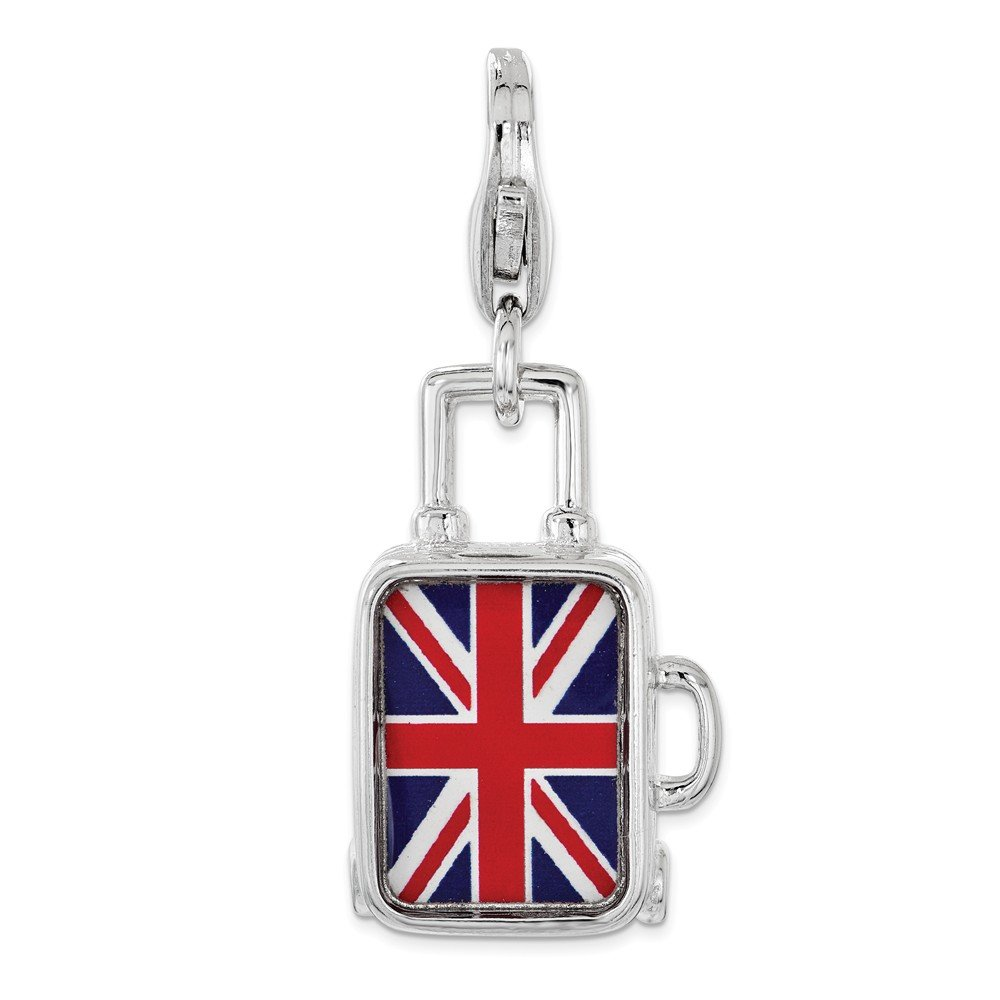 Sterling Silver Enameled British Flag Suitcase Lobster Clasp Charm