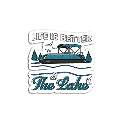 Hand Wooden Customizable Sticker Life is Better at The Lake Pontoon Boat Stickers for Personalize (3 pcs/Pack): Home & Kitchen