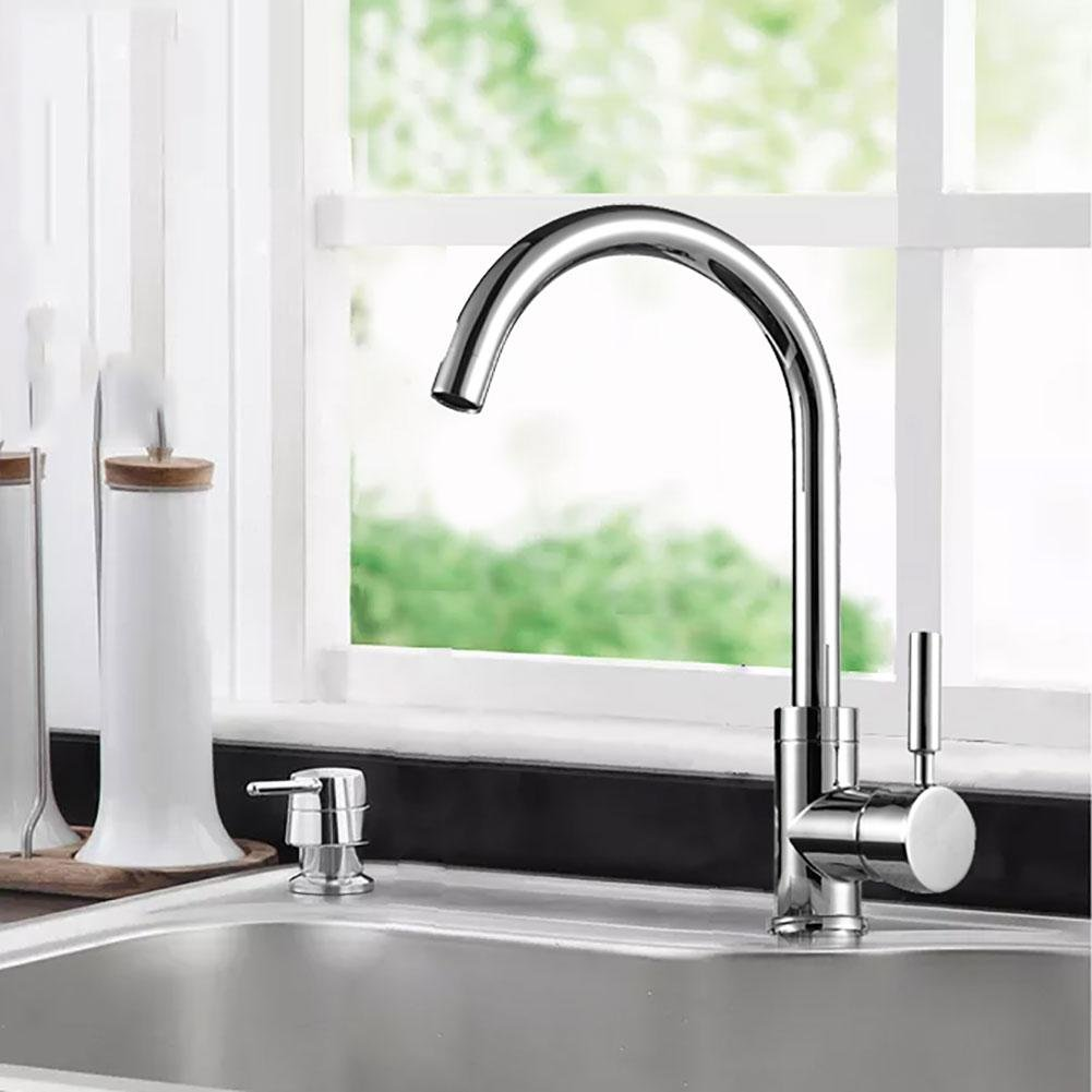 Pingtong three leading Best Commercial Brushed Nickel Stainless Steel Single Handle Kitchen Sink Faucet, Hot and Cold Single Lever Kitchen Faucets , duckbill three-way leading faucet