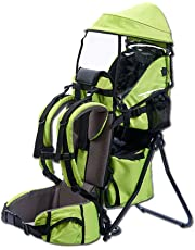 Baby Toddler Hiking Backpack Carrier with Stand Child Kid Sunshade Shield (Green)