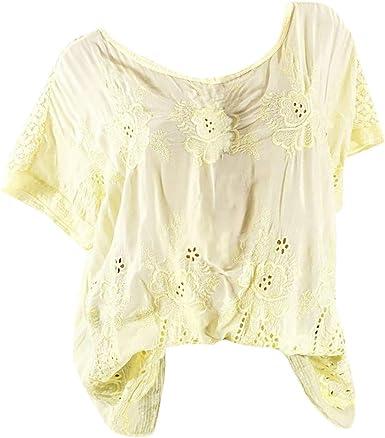 AIMEE7 Ropa Mujer Camiseta Casual de Color sólido Manga Corta Bordada de Encaje Tallas Grandes, Chaleco, Camisa, Camiseta y Blusa Moda Casual Primavera y Verano para Mujeres: Amazon.es: Ropa y accesorios