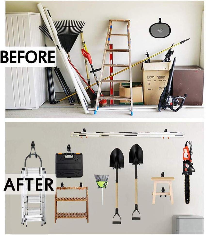ganchos de almacenamiento para el hogar atornillables para herramientas de trabajo pesado para bicicletas con escalera Wuudi Juego de ganchos para garaje 8 piezas