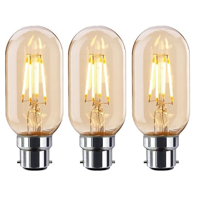 Onepre Lot de 3BC B22à baïonnette Edison Ampoules LED 4W antique Tube Filament Edison Ampoules LED Blanc chaud 2300K