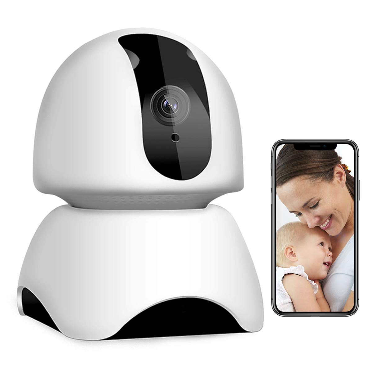 Vacam Wireless IP Security Camera HD 1080P Baby Care WiFi Remote Panorama  360 Degree Viewer Home Surveillance System for Pet/Baby with Pan/Tilt