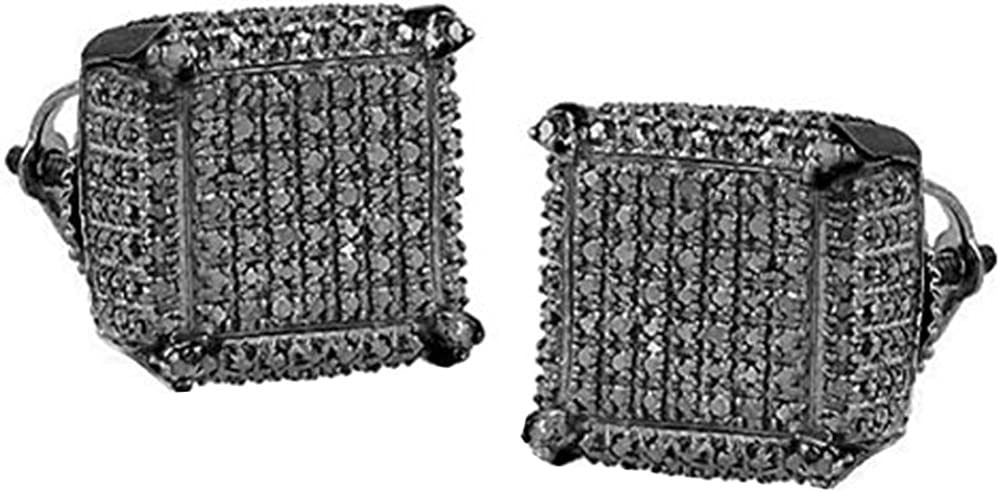 Sterling Silver Dazzlingrock Collection 0.50 Carat ctw Diamond Dice Shaped Earrings