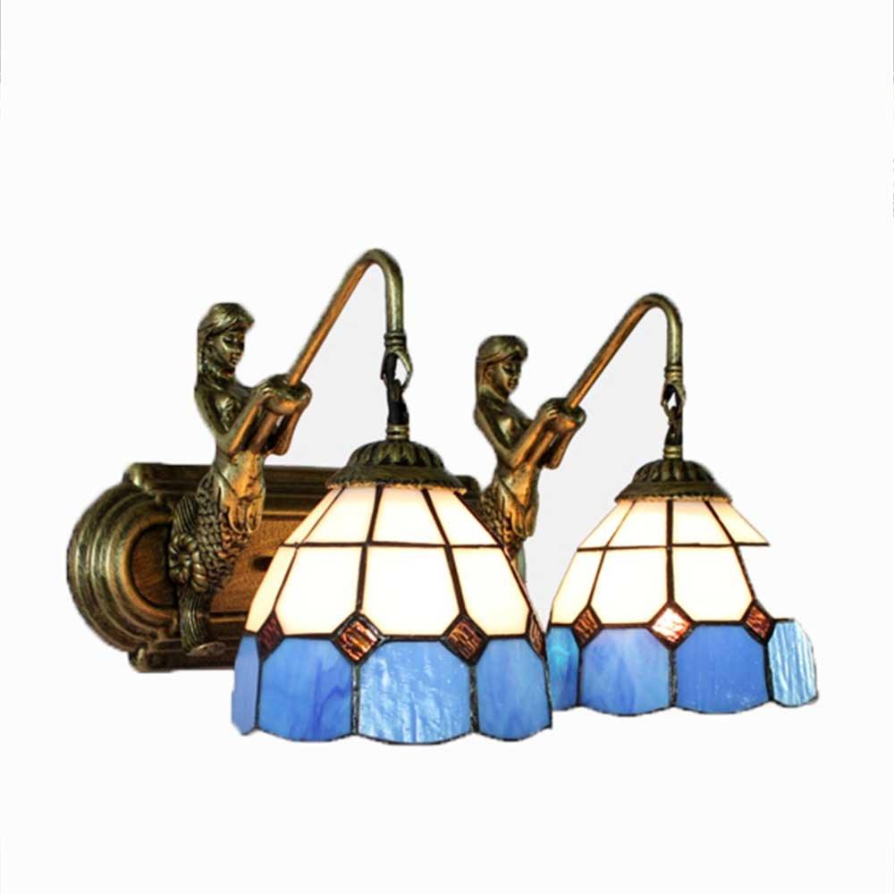 GENGJ Europäische Meerjungfrau LED Wand Kunst Kunst Kunst Mediterranen Kunst Spiegel Leuchtet Schlafzimmer Nachttisch Badezimmer Lichter,Doublehead 244d2b