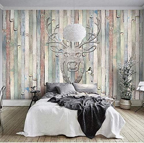 Bosakp ヴィンテージ壁紙ヨーロッパ木製の壁壁画カスタム写真ホテル紙3Dリビングルームベッドルーム 100X50Cm