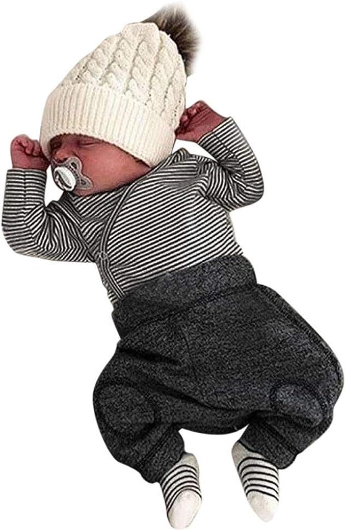 Trajes Mono Moda Bebé, LANSKIRT Recién Nacido Bebé Niño Niña Botón de Rayas Romper Mono Camiseta Pantalones Conjunto de Ropa: Amazon.es: Ropa y accesorios