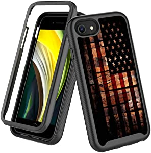 Case for iPhone SE 2020,360 Degree Heavy Duty Full Body Protection Cover and Back Bumper Shockproof Non Slip Case for iPhone 7/8/SE 4.7inch(Old Wood USA Flag)