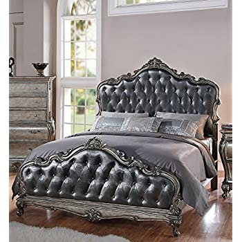 ACME Furniture 20534CK Chantelle Bed, California King, Antique Platinum U0026  Silver Gray