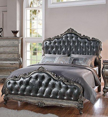 ACME Furniture 20534CK Chantelle Bed, California King, Antique Platinum & Silver Gray