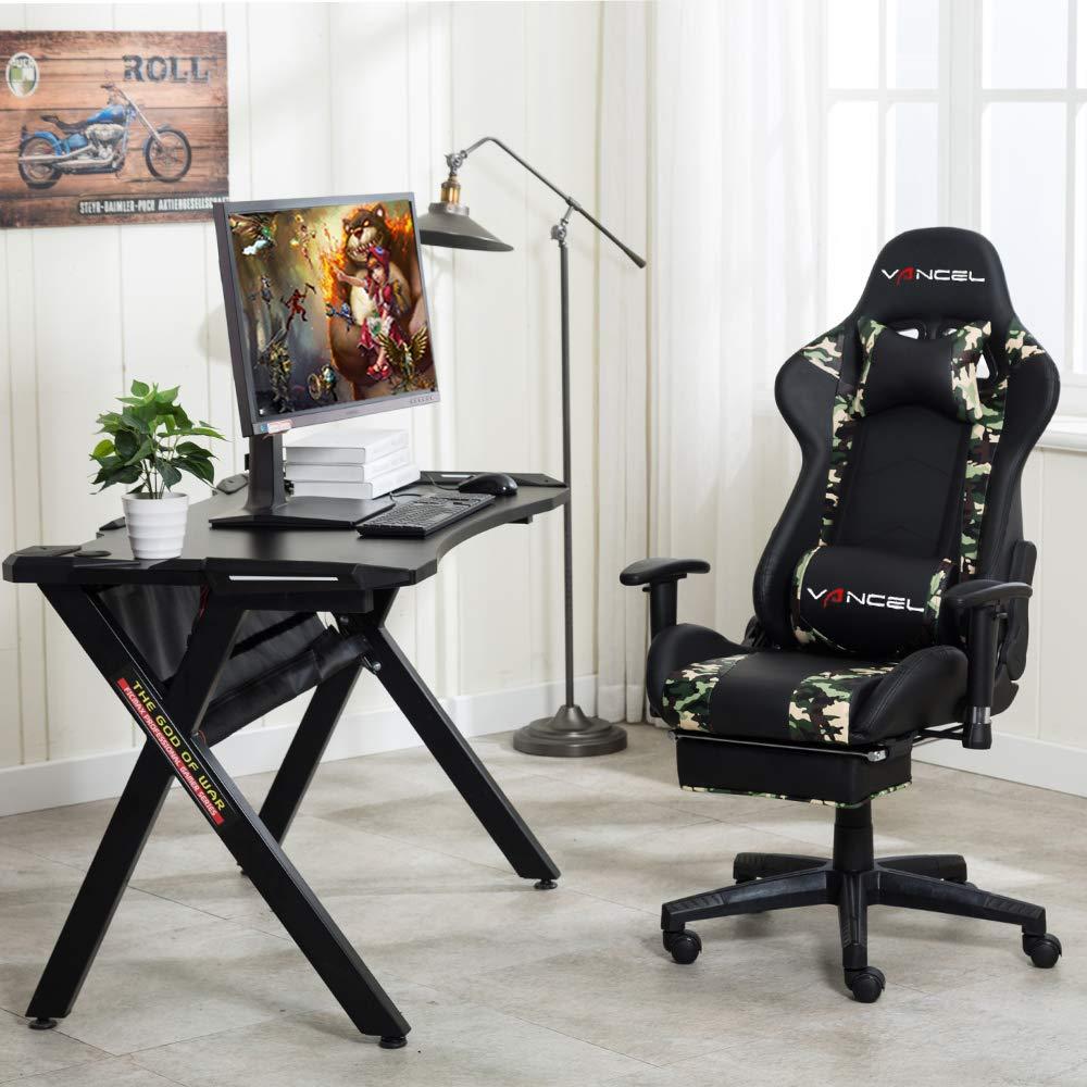 EAVANCEL Silla Gaming Sillones de Oficina Reclinable Ergonomica con Reposapiés Retráctil con Masaje Lumbar para Gamer (Camuflaje)