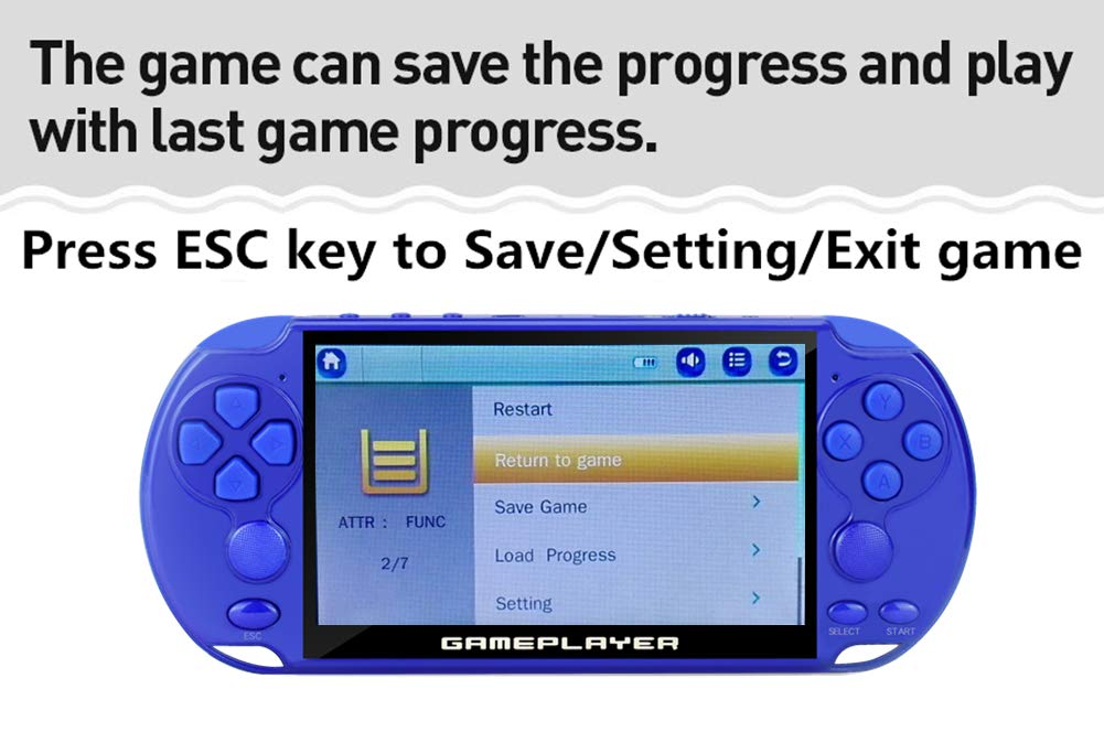 blu JXD New 5.1 pollici 128Bit retro console di videogiochi portatile incorporata 9500 giochi per arcade NEOGEO//CPS//FC//NES//SFC//SNES//GB//GBC//GBA//SMC//SMD// SEGA Console di gioco portatile mp3//4