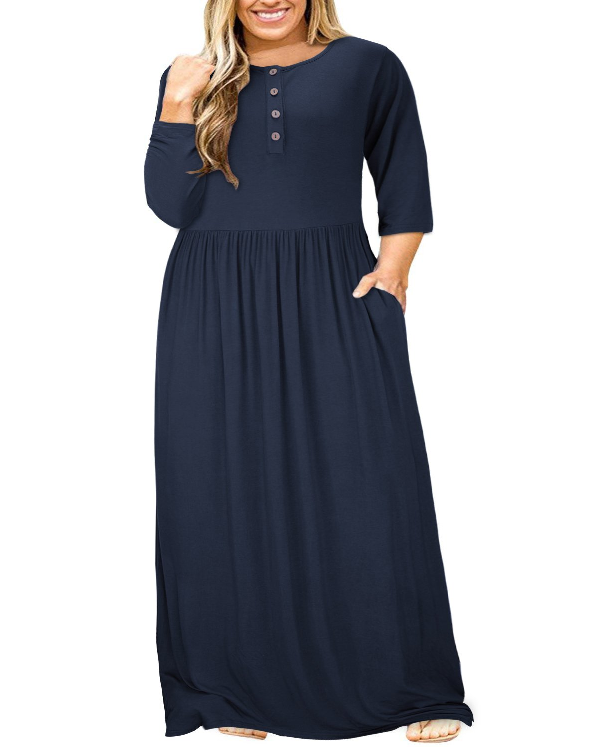 ULTRANICE Women 3/4 Sleeve Plus Size Button Solid Maxi Long Dress with Pockets (Navy,4XL)