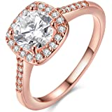 TIVANI [Eternity Love Women's Pretty 18K Rose Gold Plated Princess Cut CZ Crystal Engagement Rings Best Promise Rings for Her Anniversary Cocktail Arrow Wedding Bands Collection Jewelry Rings