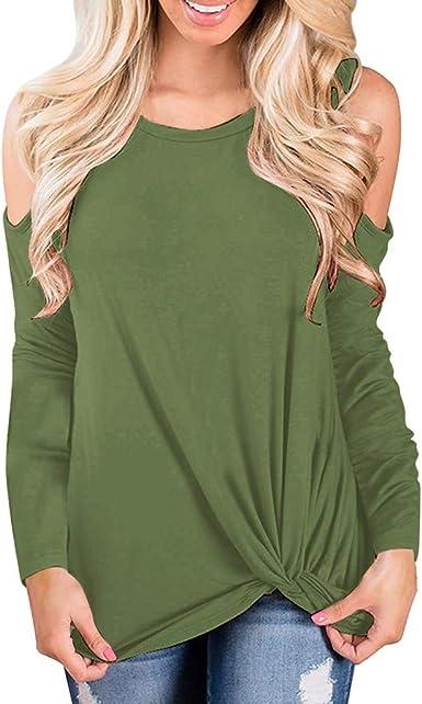 OPAKY Camiseta Basica Mujer Casual Sudadera Manga Larga Primavera Cuello Redondo Blusa Fiesta Mujer Carnaval Camisa Oficina Suelto Camisa Suelta Casual Hombros Descubiertos para Mujer: Amazon.es: Ropa y accesorios