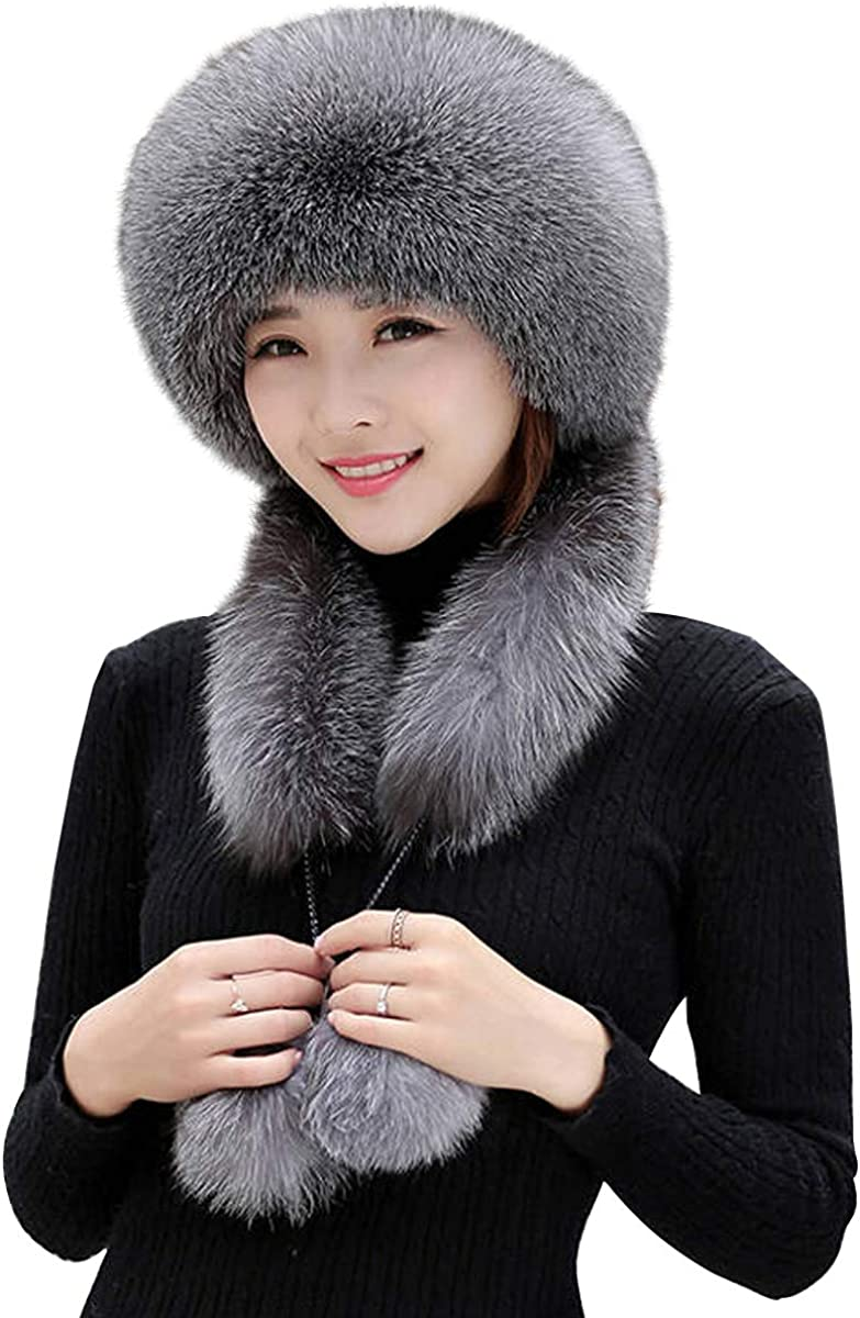 Lady Faux Fur Ushanka Trapper Hats Russian Cossack Pom Pom Ski Winter Warm Cute
