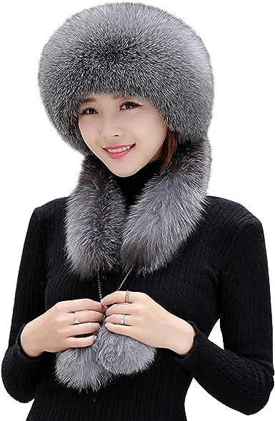 Lady Faux Fur Ushanka Trapper Hats Russian Cossack Pom Pom Ski Winter Retro Chic