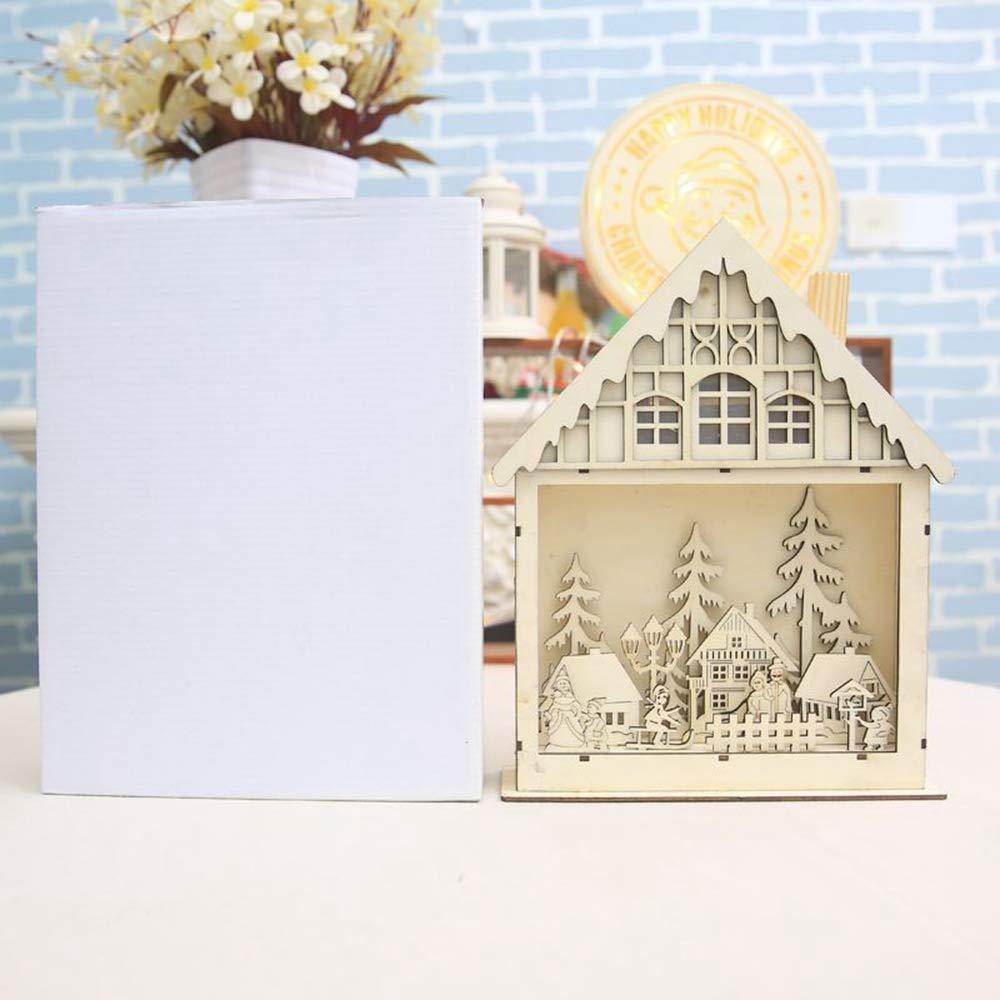JUNMAONO Christmas Decoración, Calidad De Madera Casa, LED Eléctrico Chalet Luminoso, Cesta del Caramelo, Navidad Decoraciones, Adornos Navideños (2): ...