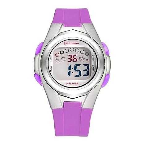 zwf Reloj Reloj de pulsera infantil impermeable reloj de pulsera niña Alarma temporizador multifunción reloj digital