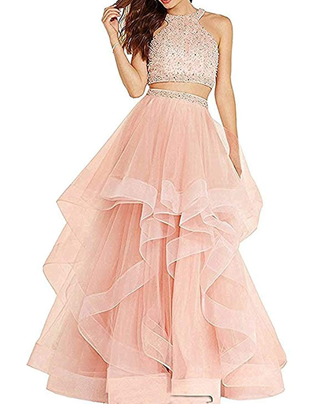 bluesh olise bridal Sexy Two Pieces Prom Dresses Long High Neck Tulle Women Party Evening Gowns