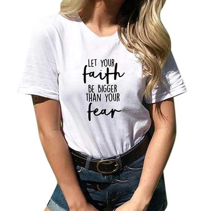 00a5faa3ced16 Yvelands Liquidación Moda Mujer Suelta de Manga Corta Camiseta de impresión  O-Cuello Superior Top