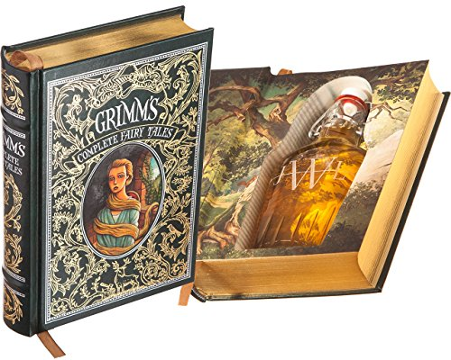 Flask Hollow Book - Grimm's Complete Fairy Tales (Leather-bound) (Magnetic Closure) (Custom-Etched)