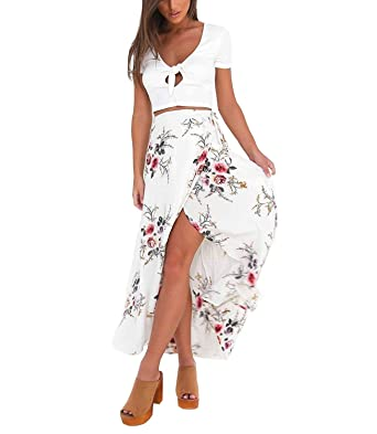 a504df5ea4 Womens Maxi Skirts,Vintage Boho Floral Print Tie Wrapped Beach Cover Up S  White