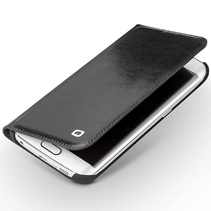 sports shoes 768e1 18b9d Samsung Galaxy S6 Edge Case, Slim Flip Genuine Leather Cover Wallet Case by  QIALINO with Card/ Money Slot