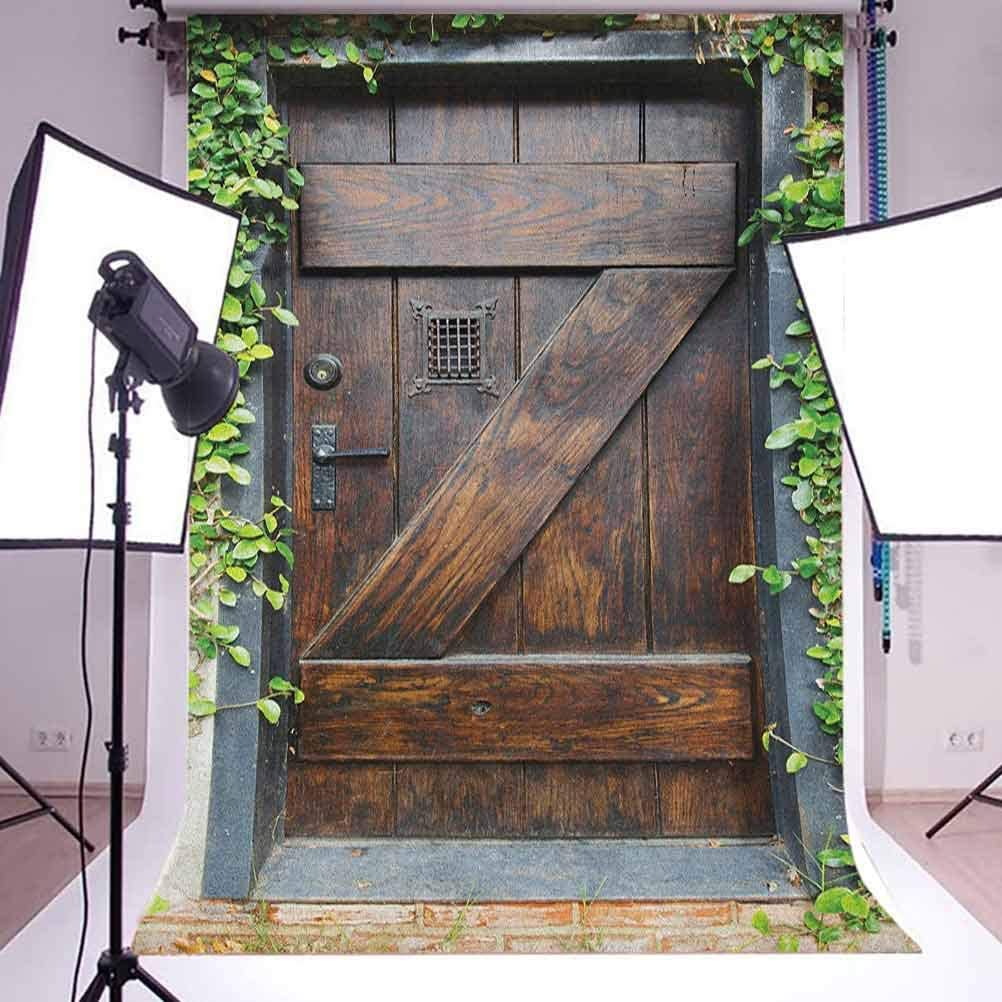 9x16 FT Rustic Vinyl Photography Backdrop,Small Spanish Style Dark Stained Wood Door Secret Garden with Grated Window Picture Background for Photo Backdrop Baby Newborn Photo Studio Props