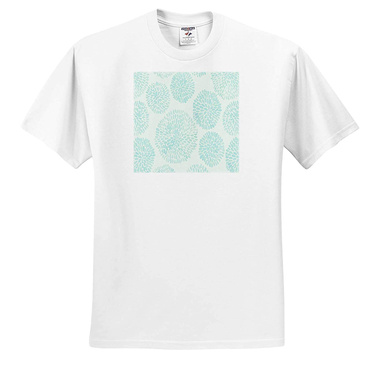 3dRose Lens Art by Florene All Things Aqua ts/_317102 Image of Large Pattern of Aqua Pop Flowers Adult T-Shirt XL