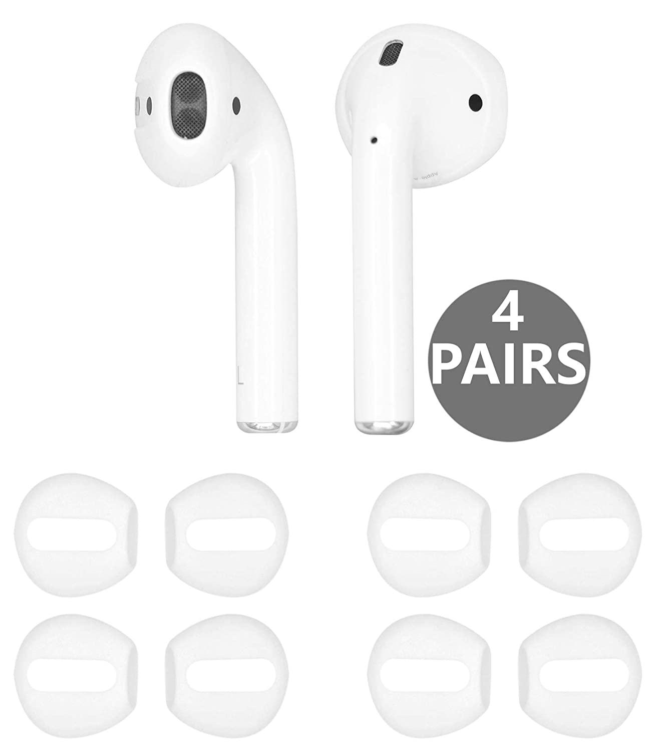 ec0d173e5d9 (Fit in Case) 4 Pairs Replacement Super Thin Slim Silicone Earbuds Ear Tips  and Covers Skin Accessories for Apple AirPods or EarPods Headphones [ Fit  in ...