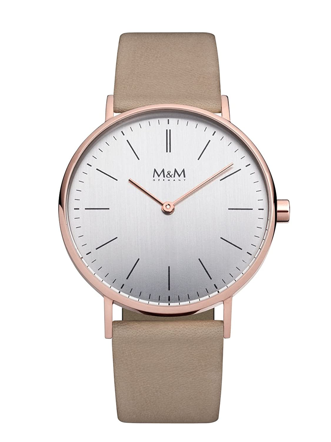 M&M Damenuhr Lederband M11892-992 Best Basic RosÉgold plattiert